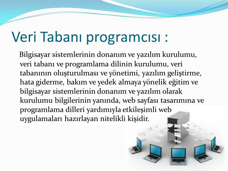 Veri Tabanı programcısı : Bilgisayar sistemlerinin donanım ve yazılım kurulumu, veri tabanı ve programlama dilinin kurulumu, veri tabanının oluşturulm