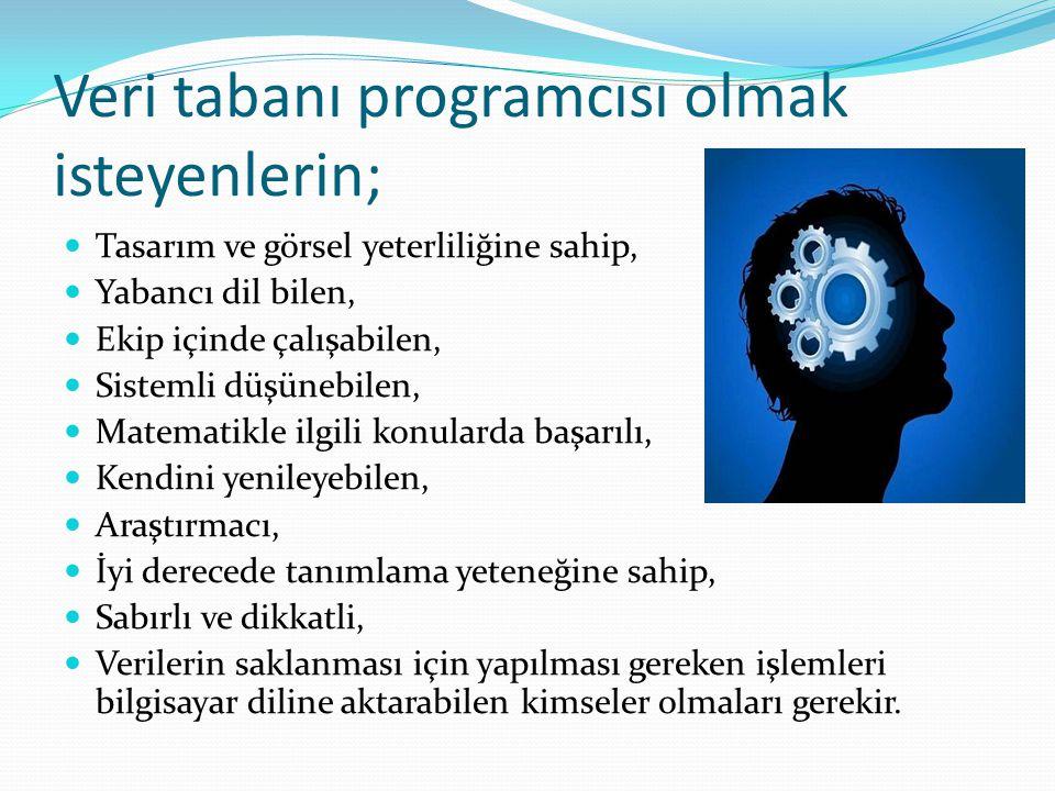 Veri tabanı programcısı olmak isteyenlerin; Tasarım ve görsel yeterliliğine sahip, Yabancı dil bilen, Ekip içinde çalışabilen, Sistemli düşünebilen, M
