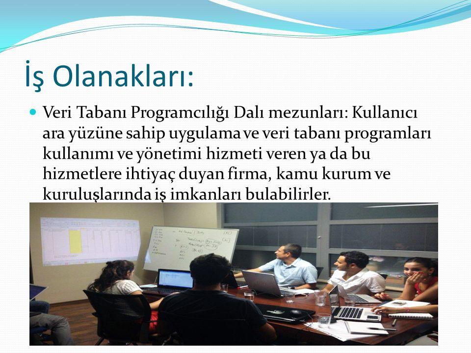 İş Olanakları: Veri Tabanı Programcılığı Dalı mezunları: Kullanıcı ara yüzüne sahip uygulama ve veri tabanı programları kullanımı ve yönetimi hizmeti