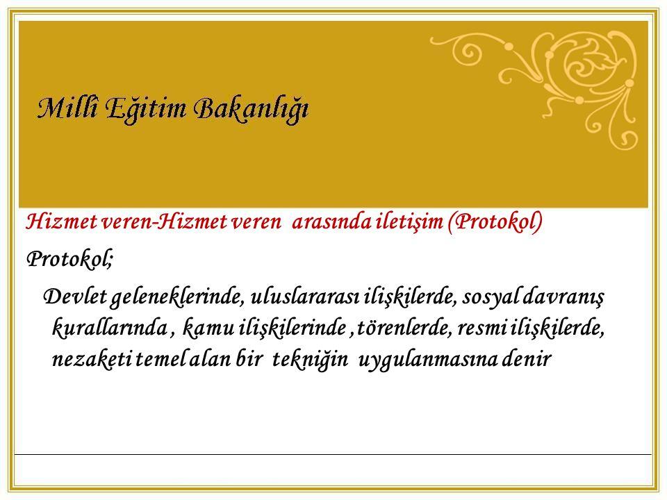 Hizmet veren-Hizmet veren arasında iletişim (Protokol) Protokol; Devlet geleneklerinde, uluslararası ilişkilerde, sosyal davranış kurallarında, kamu i