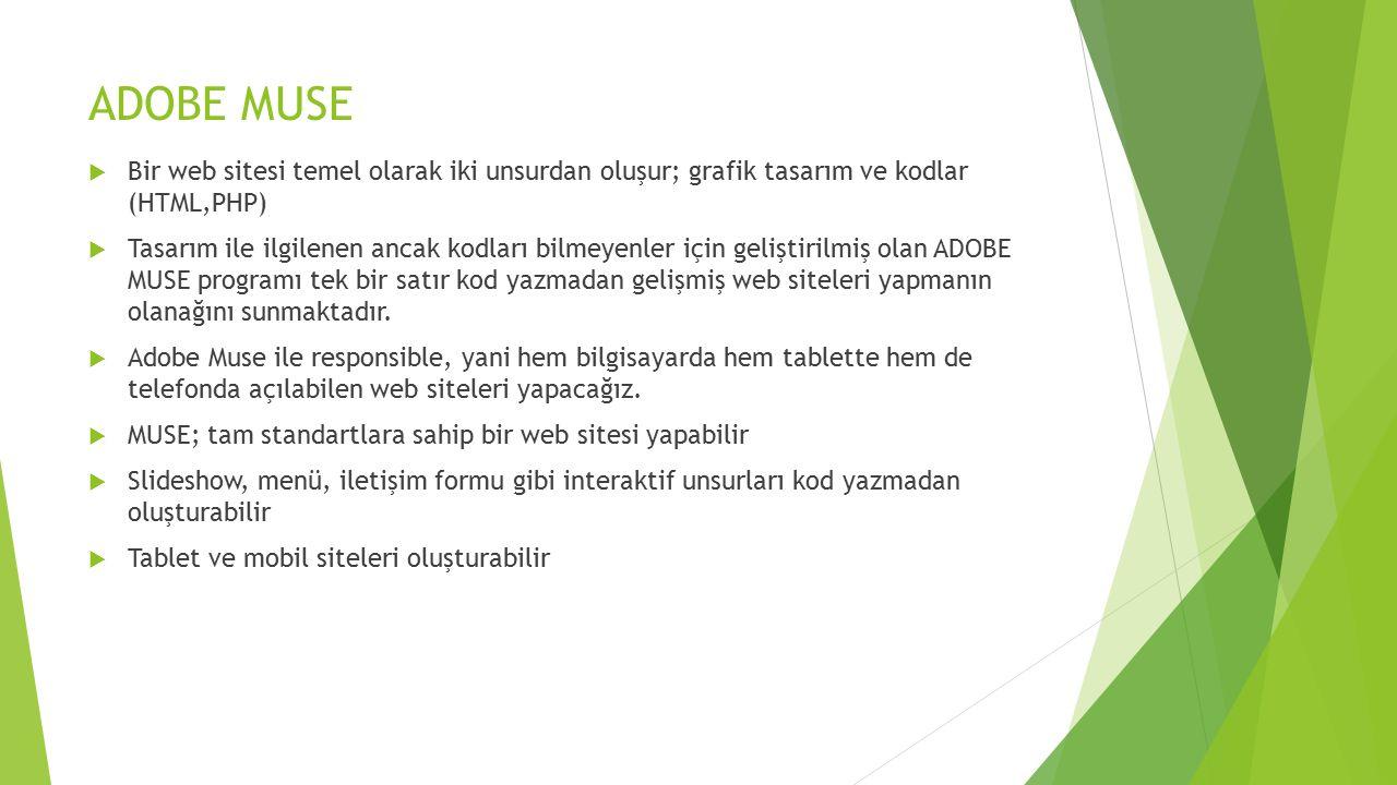 ADOBE MUSE  Bir web sitesi temel olarak iki unsurdan oluşur; grafik tasarım ve kodlar (HTML,PHP)  Tasarım ile ilgilenen ancak kodları bilmeyenler iç