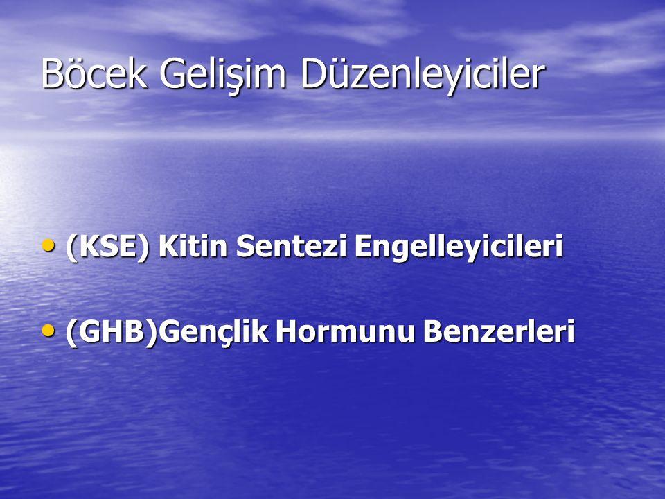 Böcek Gelişim Düzenleyiciler (KSE) Kitin Sentezi Engelleyicileri (KSE) Kitin Sentezi Engelleyicileri (GHB)Gençlik Hormunu Benzerleri (GHB)Gençlik Horm