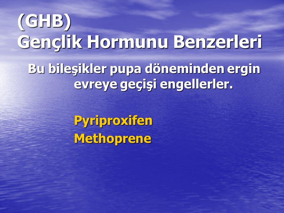 (GHB) Gençlik Hormunu Benzerleri Bu bileşikler pupa döneminden ergin evreye geçişi engellerler. Pyriproxifen PyriproxifenMethoprene