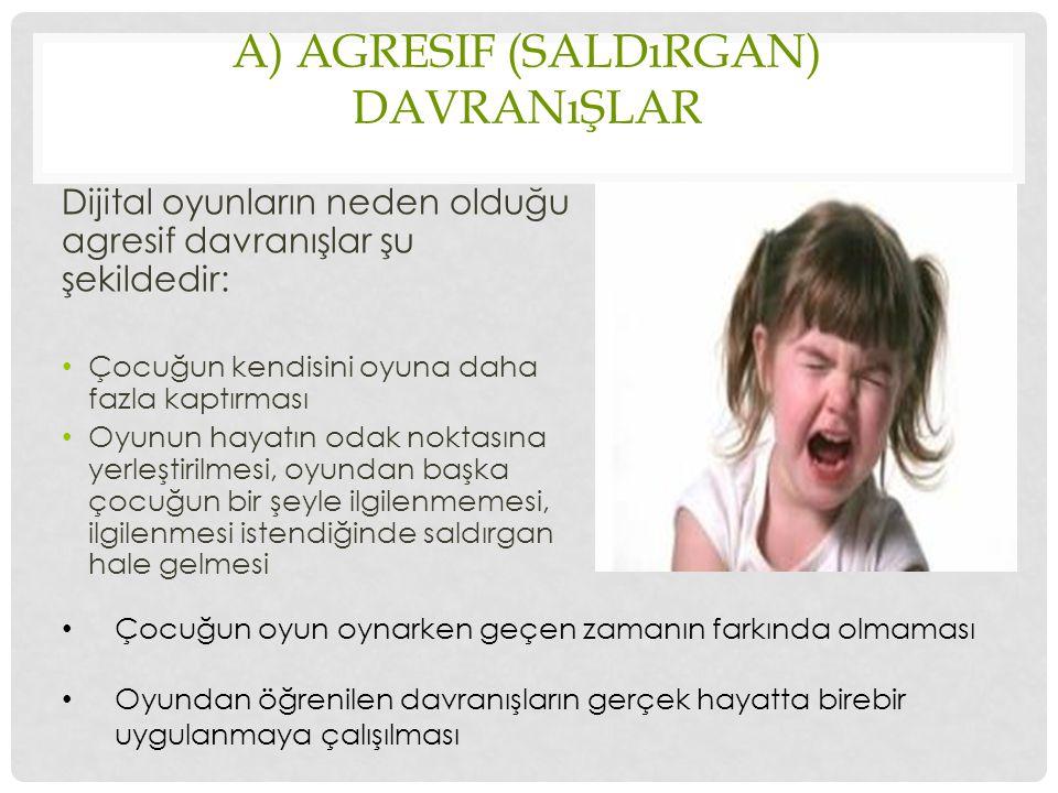 A) AGRESIF (SALDıRGAN) DAVRANıŞLAR Dijital oyunların neden olduğu agresif davranışlar şu şekildedir: Çocuğun kendisini oyuna daha fazla kaptırması Oyu