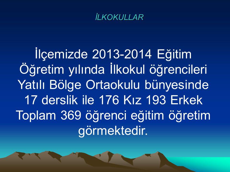 İLKOKULLAR İlçemizde 2013-2014 Eğitim Öğretim yılında İlkokul öğrencileri Yatılı Bölge Ortaokulu bünyesinde 17 derslik ile 176 Kız 193 Erkek Toplam 36