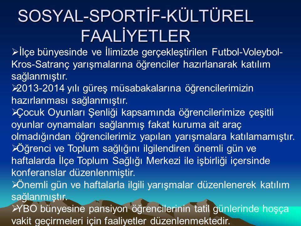 SOSYAL-SPORTİF-KÜLTÜREL FAALİYETLER  İlçe bünyesinde ve İlimizde gerçekleştirilen Futbol-Voleybol- Kros-Satranç yarışmalarına öğrenciler hazırlanarak
