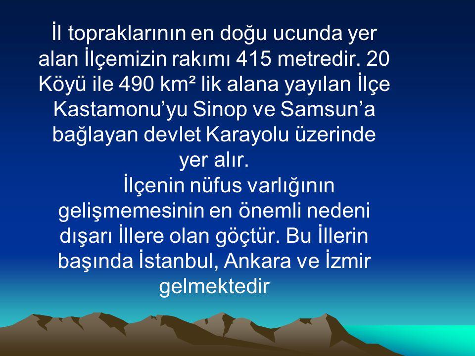 İl topraklarının en doğu ucunda yer alan İlçemizin rakımı 415 metredir. 20 Köyü ile 490 km² lik alana yayılan İlçe Kastamonu'yu Sinop ve Samsun'a bağl