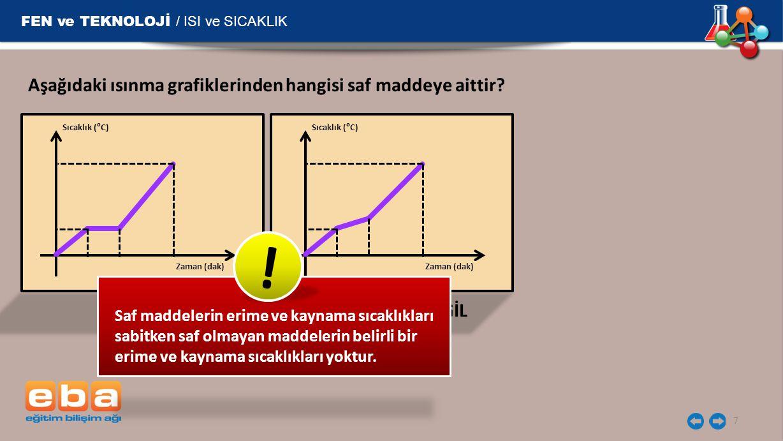 FEN ve TEKNOLOJİ / ISI ve SICAKLIK 7 Aşağıdaki ısınma grafiklerinden hangisi saf maddeye aittir? Sıcaklık (⁰C) Zaman (dak) Sıcaklık (⁰C) Zaman (dak) S