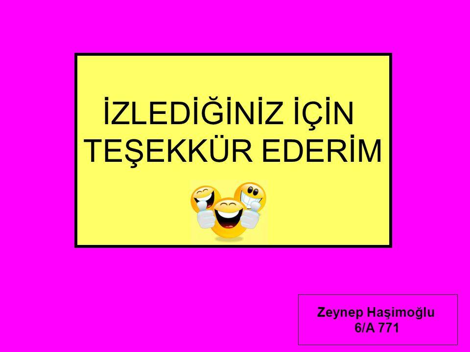 İZLEDİĞİNİZ İÇİN TEŞEKKÜR EDERİM Zeynep Haşimoğlu 6/A 771