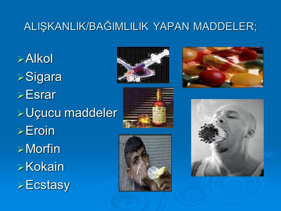 ALIŞKANLIK/BAĞIMLILIK YAPAN MADDELER;  Alkol  Sigara  Esrar  Uçucu maddeler  Eroin  Morfin  Kokain  Ecstasy