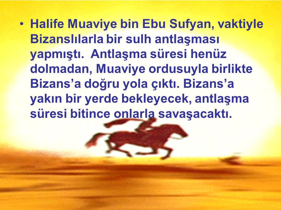 Halife Muaviye bin Ebu Sufyan, vaktiyle Bizanslılarla bir sulh antlaşması yapmıştı. Antlaşma süresi henüz dolmadan, Muaviye ordusuyla birlikte Bizans'