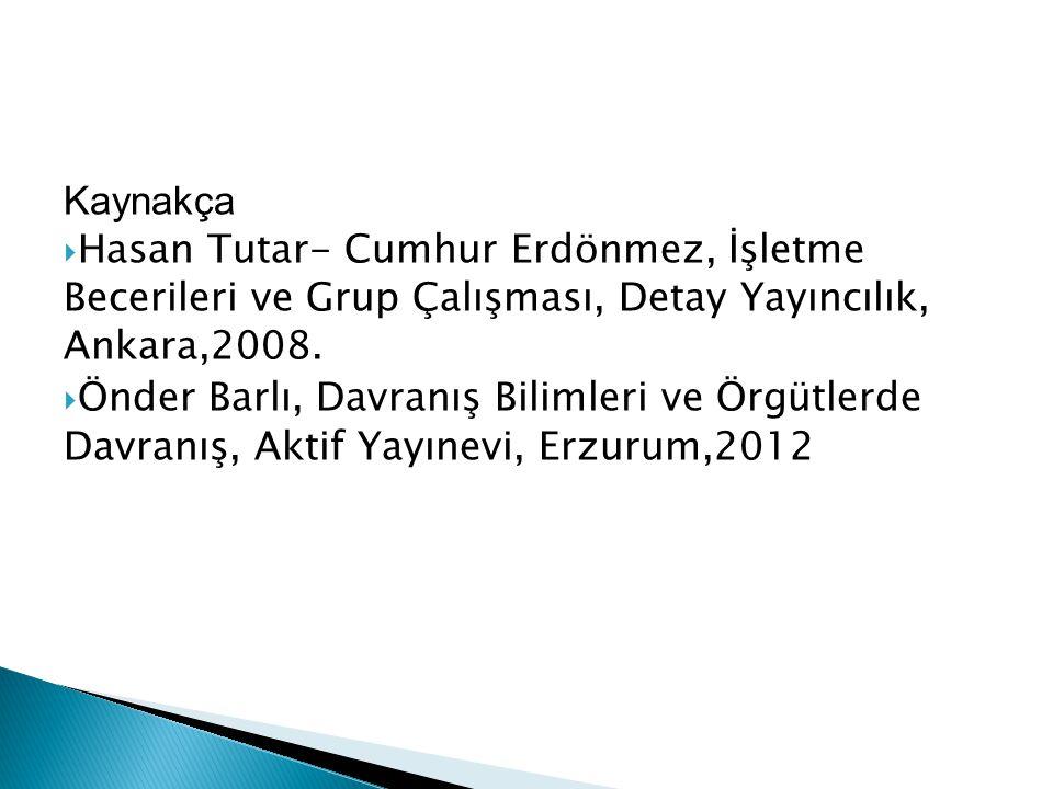 Kaynakça  Hasan Tutar- Cumhur Erdönmez, İşletme Becerileri ve Grup Çalışması, Detay Yayıncılık, Ankara,2008.  Önder Barlı, Davranış Bilimleri ve Örg