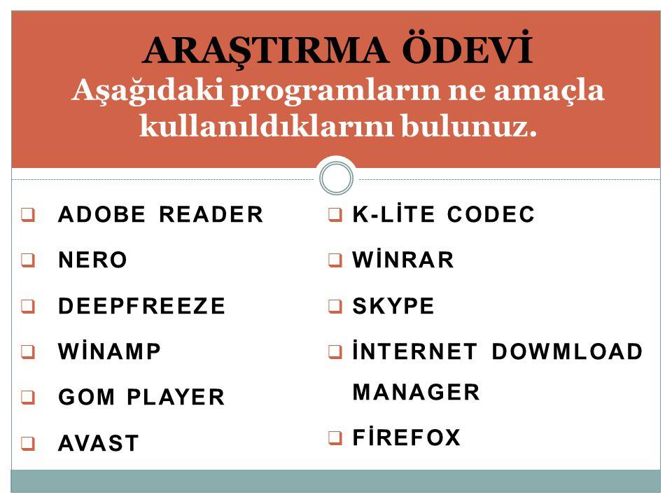  ADOBE READER  NERO  DEEPFREEZE  WİNAMP  GOM PLAYER  AVAST ARAŞTIRMA ÖDEVİ Aşağıdaki programların ne amaçla kullanıldıklarını bulunuz.  K-LİTE