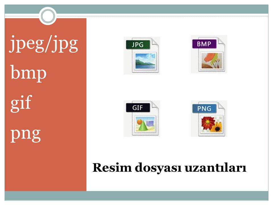 Resim dosyası uzantıları jpeg/jpg bmp gif png