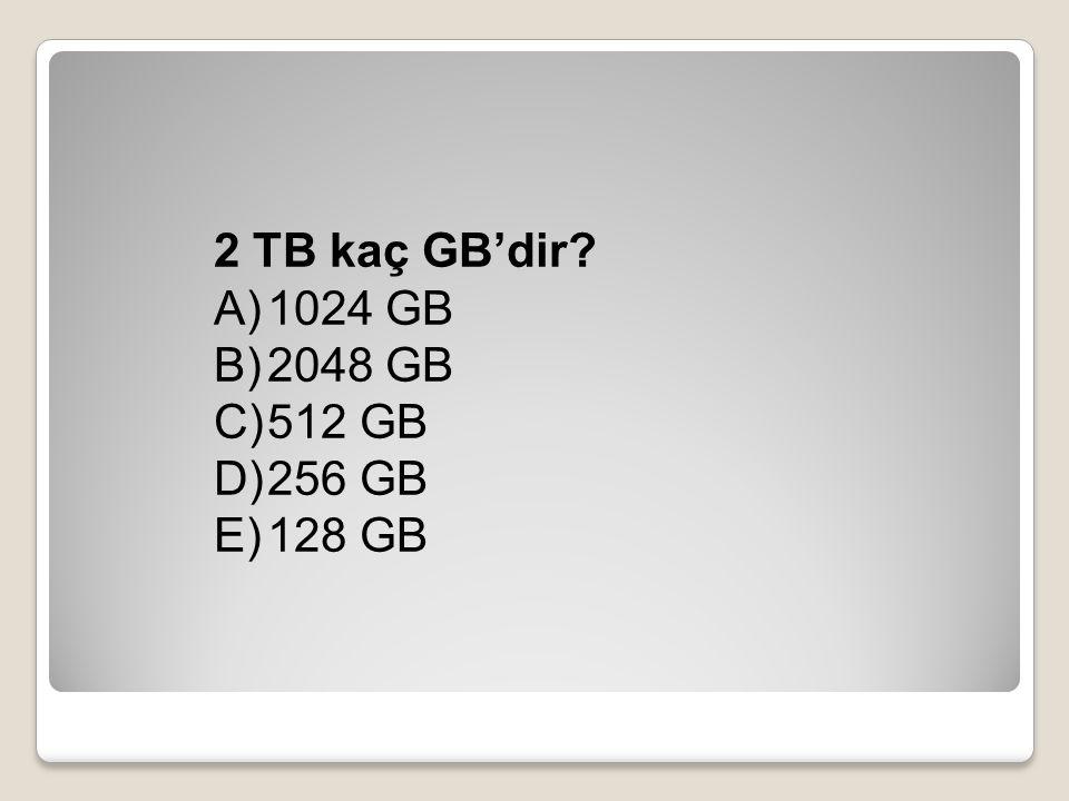 2 TB kaç GB'dir? A)1024 GB B)2048 GB C)512 GB D)256 GB E)128 GB