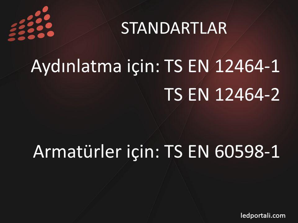 STANDARTLAR ledportali.com Aydınlatma için: TS EN 12464-1 TS EN 12464-2 Armatürler için: TS EN 60598-1