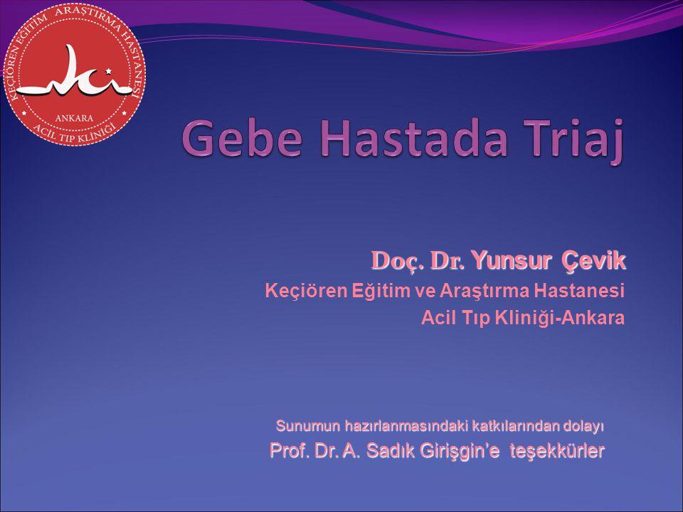 Doç. Dr. Yunsur Çevik Keçiören Eğitim ve Araştırma Hastanesi Acil Tıp Kliniği-Ankara Sunumun hazırlanmasındaki katkılarından dolayı Prof. Dr. A. Sadık