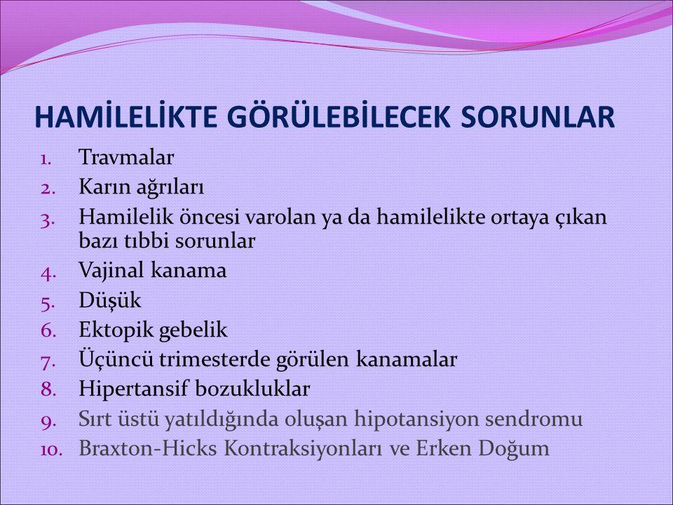 HAMİLELİKTE GÖRÜLEBİLECEK SORUNLAR 1. Travmalar 2. Karın ağrıları 3. Hamilelik öncesi varolan ya da hamilelikte ortaya çıkan bazı tıbbi sorunlar 4. Va