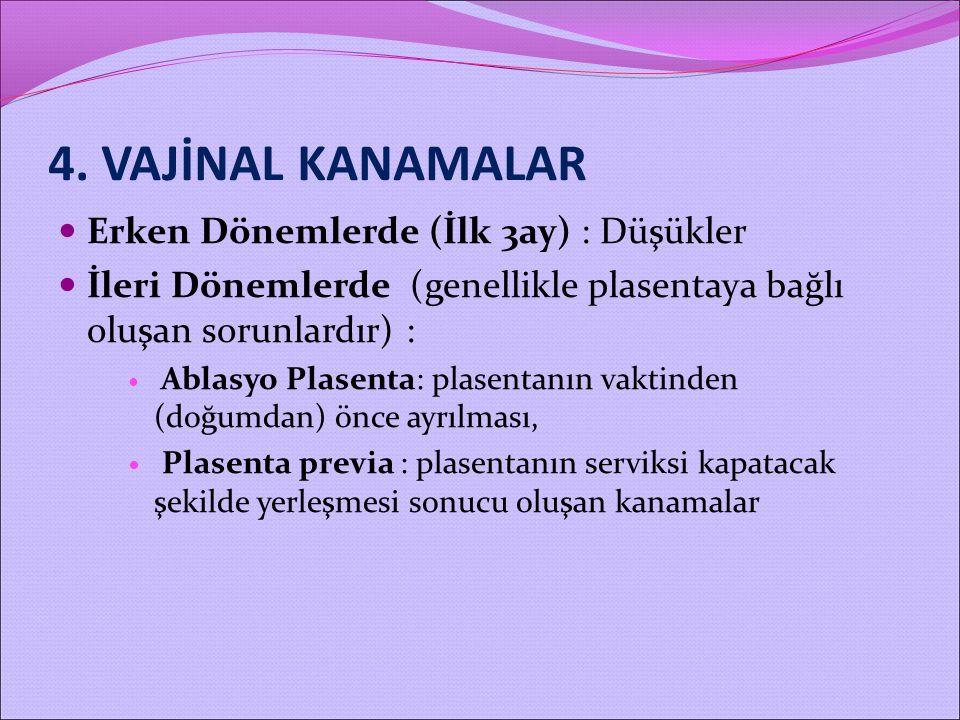 4. VAJİNAL KANAMALAR Erken Dönemlerde (İlk 3ay) : Düşükler İleri Dönemlerde (genellikle plasentaya bağlı oluşan sorunlardır) : Ablasyo Plasenta: plase