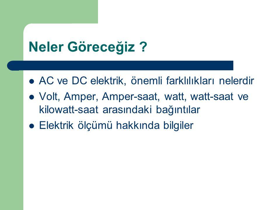 Neler Göreceğiz ? AC ve DC elektrik, önemli farklılıkları nelerdir Volt, Amper, Amper-saat, watt, watt-saat ve kilowatt-saat arasındaki bağıntılar Ele