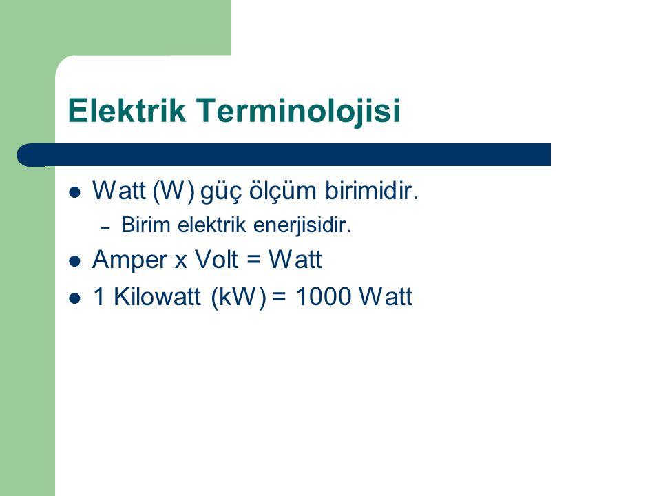 Elektrik Terminolojisi Watt (W) güç ölçüm birimidir. – Birim elektrik enerjisidir. Amper x Volt = Watt 1 Kilowatt (kW) = 1000 Watt