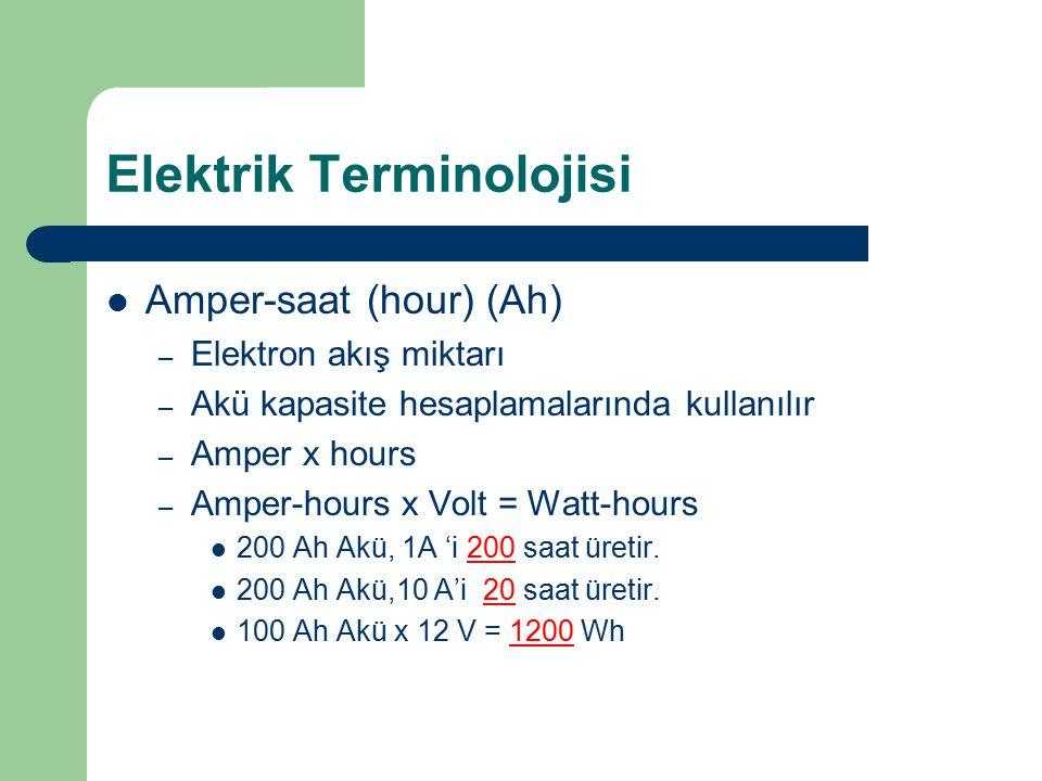 Elektrik Terminolojisi Amper-saat (hour) (Ah) – Elektron akış miktarı – Akü kapasite hesaplamalarında kullanılır – Amper x hours – Amper-hours x Volt