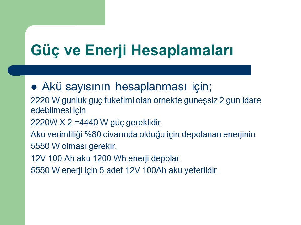 Güç ve Enerji Hesaplamaları Akü sayısının hesaplanması için; 2220 W günlük güç tüketimi olan örnekte güneşsiz 2 gün idare edebilmesi için 2220W X 2 =4
