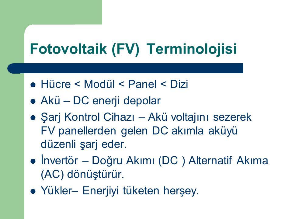 Fotovoltaik (FV)Terminolojisi Hücre < Modül < Panel < Dizi Akü – DC enerji depolar Şarj Kontrol Cihazı – Akü voltajını sezerek FV panellerden gelen DC