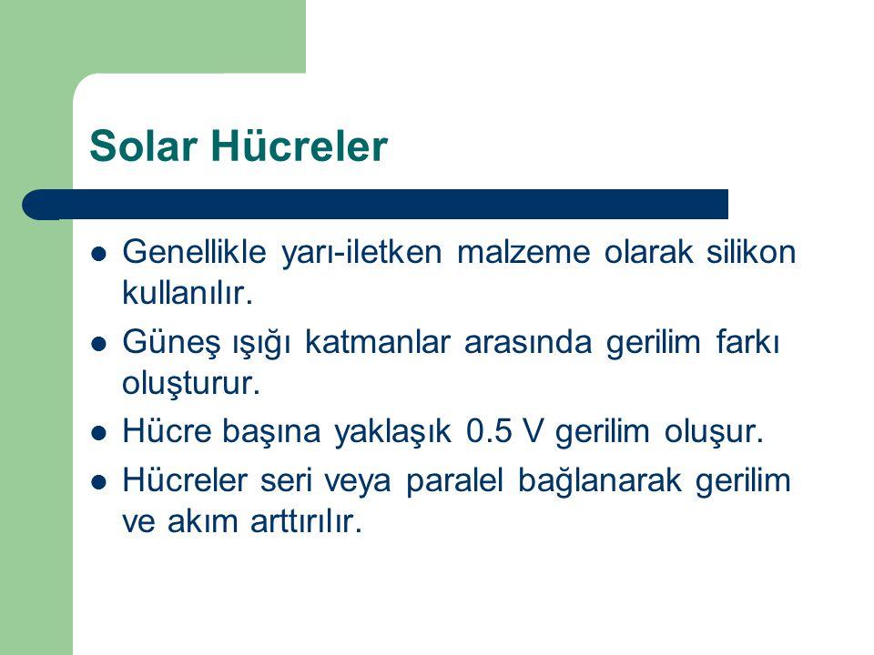 Solar Hücreler Genellikle yarı-iletken malzeme olarak silikon kullanılır. Güneş ışığı katmanlar arasında gerilim farkı oluşturur. Hücre başına yaklaşı