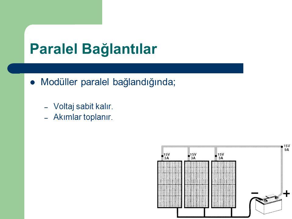 Modüller paralel bağlandığında; – Voltaj sabit kalır. – Akımlar toplanır. Paralel Bağlantılar