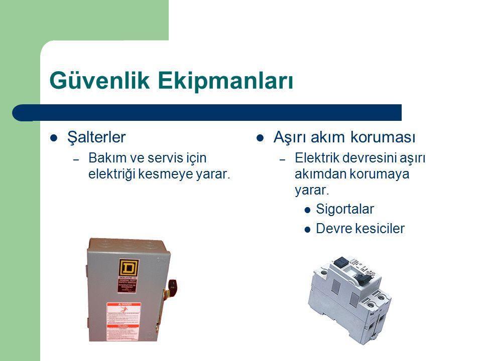 Güvenlik Ekipmanları Şalterler – Bakım ve servis için elektriği kesmeye yarar. Aşırı akım koruması – Elektrik devresini aşırı akımdan korumaya yarar.