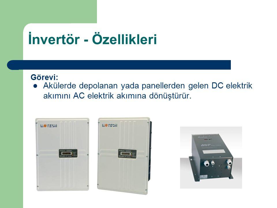 İnvertör - Özellikleri Akülerde depolanan yada panellerden gelen DC elektrik akımını AC elektrik akımına dönüştürür. Görevi: