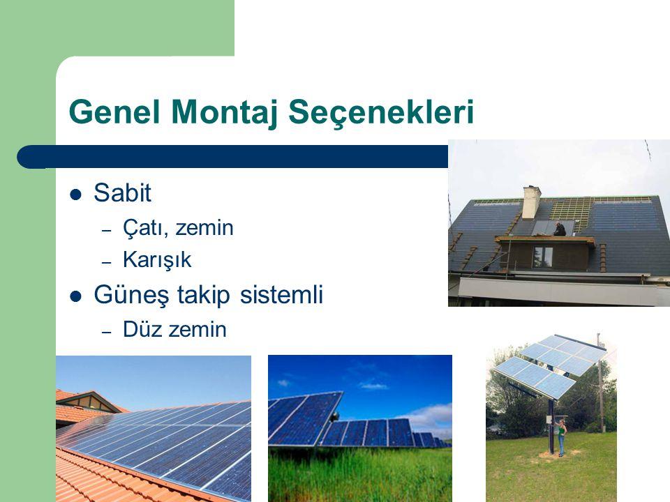 Genel Montaj Seçenekleri Sabit – Çatı, zemin – Karışık Güneş takip sistemli – Düz zemin