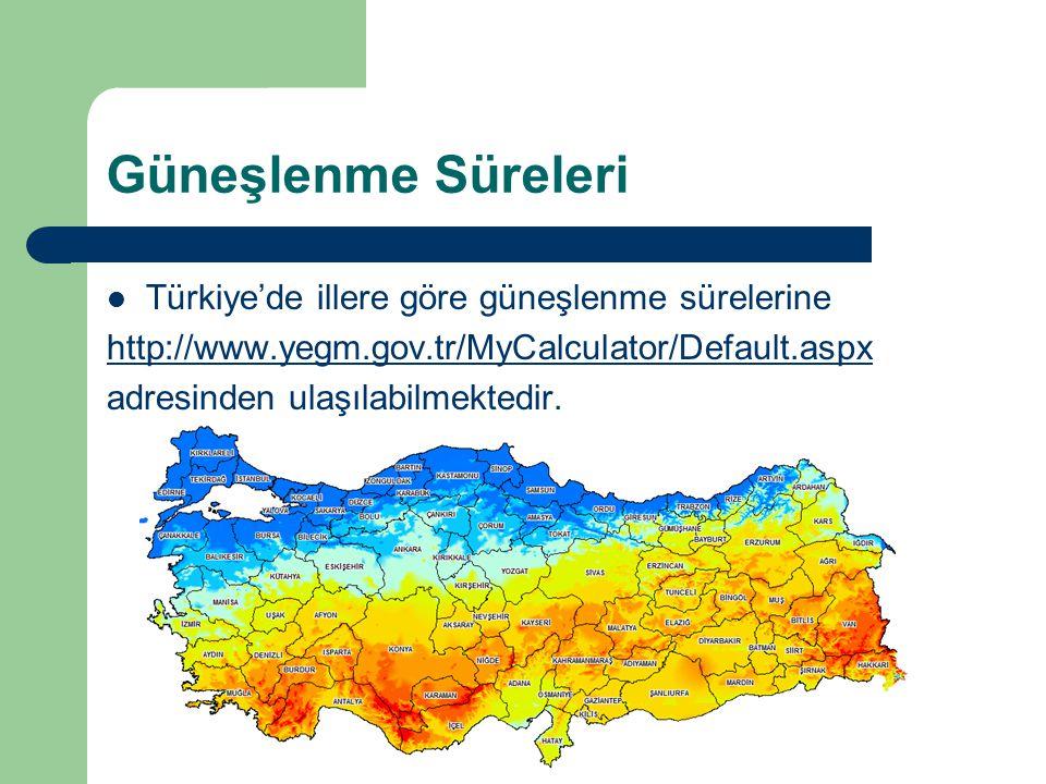 Güneşlenme Süreleri Türkiye'de illere göre güneşlenme sürelerine http://www.yegm.gov.tr/MyCalculator/Default.aspx adresinden ulaşılabilmektedir.