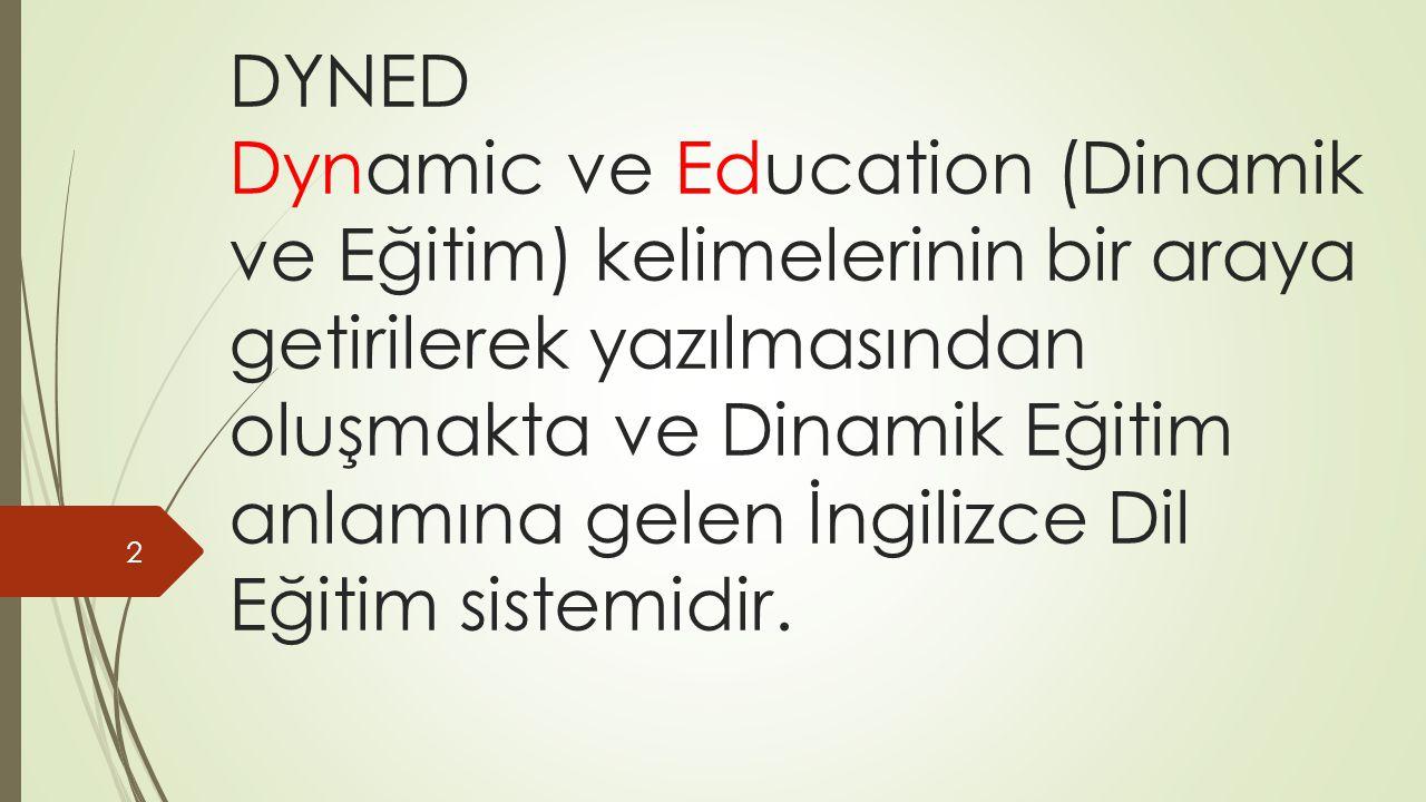 DYNED Dynamic ve Education (Dinamik ve Eğitim) kelimelerinin bir araya getirilerek yazılmasından oluşmakta ve Dinamik Eğitim anlamına gelen İngilizce Dil Eğitim sistemidir.