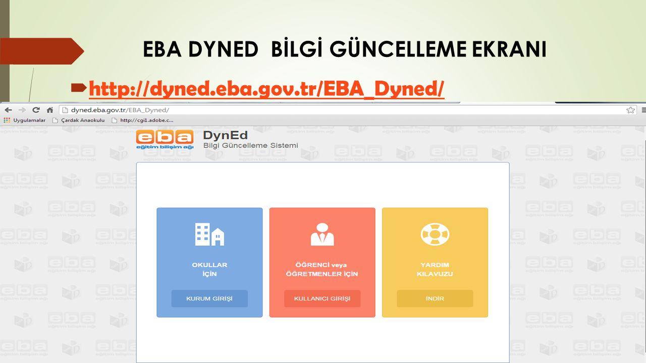 EBA DYNED BİLGİ GÜNCELLEME EKRANI  http://dyned.eba.gov.tr/EBA_Dyned/ http://dyned.eba.gov.tr/EBA_Dyned/