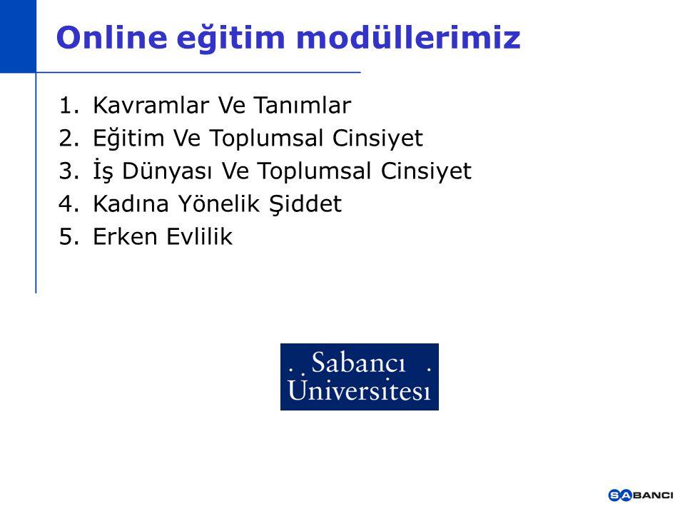 Online eğitim modüllerimiz 1.Kavramlar Ve Tanımlar 2.Eğitim Ve Toplumsal Cinsiyet 3.İş Dünyası Ve Toplumsal Cinsiyet 4.Kadına Yönelik Şiddet 5.Erken E