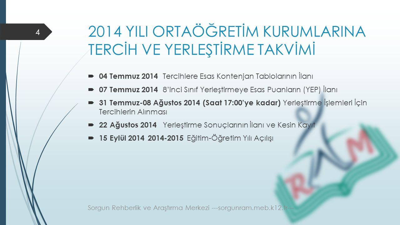 2014 YILI ORTAÖĞRETİM KURUMLARINA TERCİH VE YERLEŞTİRME TAKVİMİ  04 Temmuz 2014 Tercihlere Esas Kontenjan Tablolarının İlanı  07 Temmuz 2014 8'inci