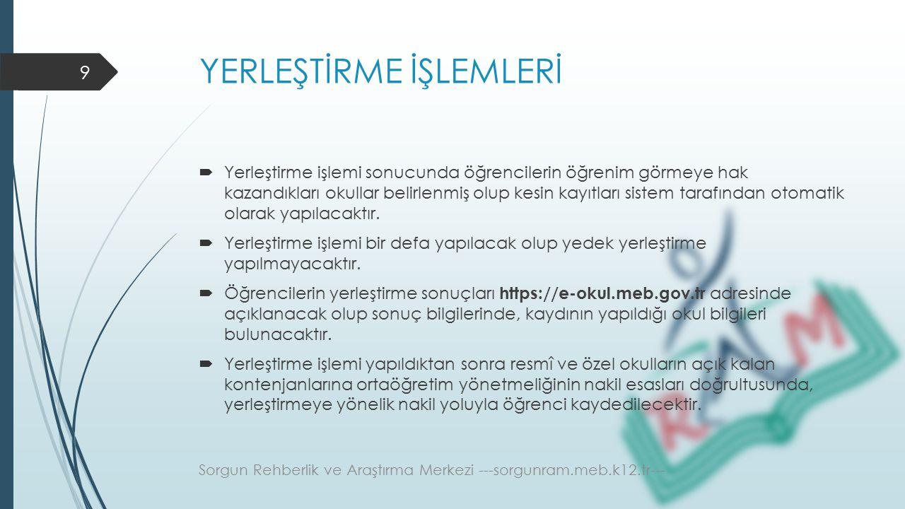 YERLEŞTİRME İŞLEMLERİ (Özel Okullar)  Tercih listesinde yer almak isteyen özel okullar tam burslu olarak alacakları öğrencileri Türkiye genelinde puan üstünlüğüne göre ilk % 5'lik dilim içerisinden alacaklardır.
