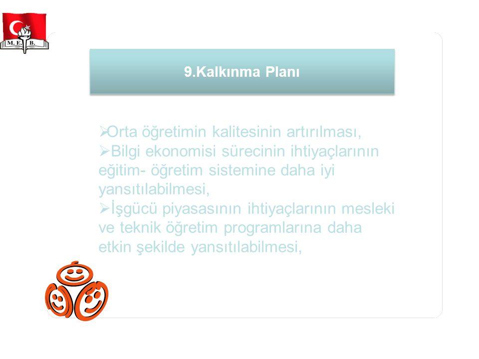 9.Kalkınma Planı  Orta öğretimin kalitesinin artırılması,  Bilgi ekonomisi sürecinin ihtiyaçlarının eğitim- öğretim sistemine daha iyi yansıtılabilmesi,  İşgücü piyasasının ihtiyaçlarının mesleki ve teknik öğretim programlarına daha etkin şekilde yansıtılabilmesi,