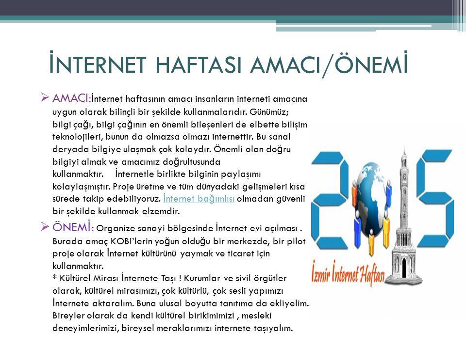 İ NTERNET HAFTASI AMACI/ÖNEM İ  AMACI: İ nternet haftasının amacı insanların interneti amacına uygun olarak bilinçli bir şekilde kullanmalarıdır.