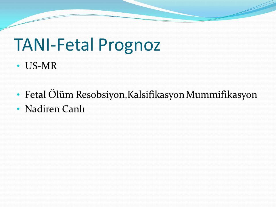 TANI-Fetal Prognoz US-MR Fetal Ölüm Resobsiyon,Kalsifikasyon Mummifikasyon Nadiren Canlı