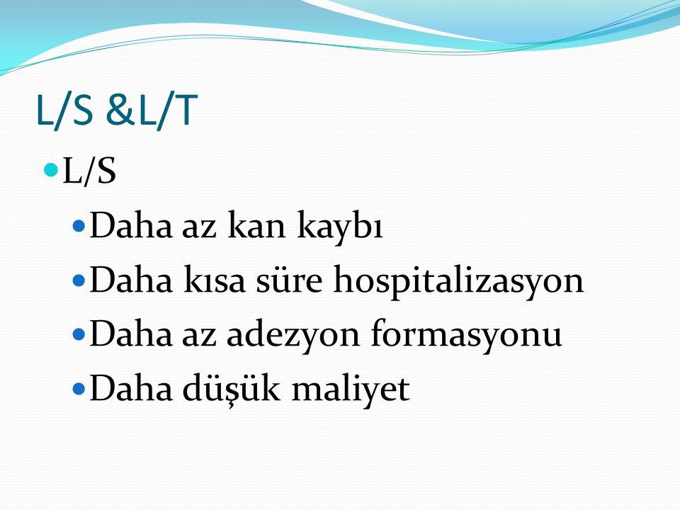 L/S &L/T L/S Daha az kan kaybı Daha kısa süre hospitalizasyon Daha az adezyon formasyonu Daha düşük maliyet