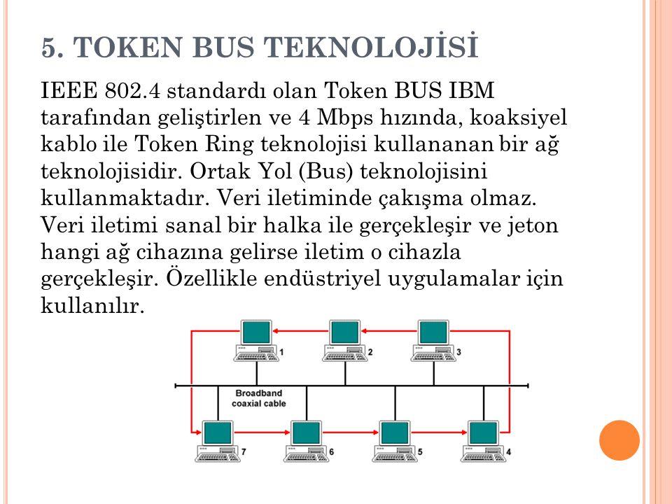 5. TOKEN BUS TEKNOLOJİSİ IEEE 802.4 standardı olan Token BUS IBM tarafından geliştirlen ve 4 Mbps hızında, koaksiyel kablo ile Token Ring teknolojisi