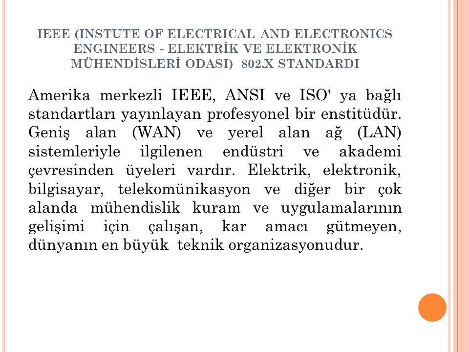 IEEE (INSTUTE OF ELECTRICAL AND ELECTRONICS ENGINEERS - ELEKTRİK VE ELEKTRONİK MÜHENDİSLERİ ODASI) 802.X STANDARDI Amerika merkezli IEEE, ANSI ve ISO ya bağlı standartları yayınlayan profesyonel bir enstitüdür.