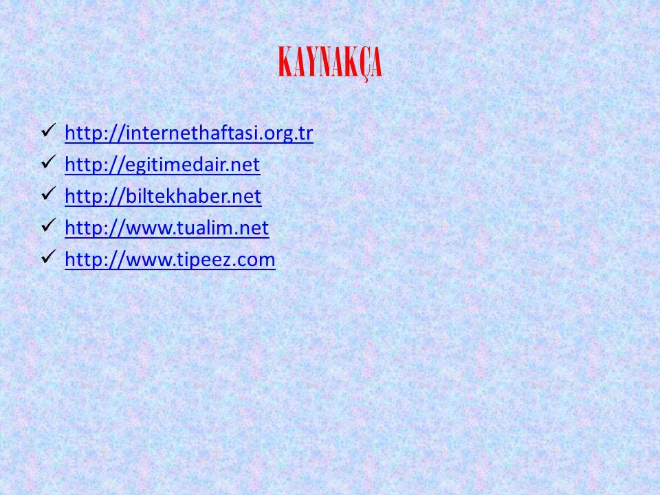 KAYNAKÇA http://internethaftasi.org.tr http://egitimedair.net http://biltekhaber.net http://www.tualim.net http://www.tipeez.com