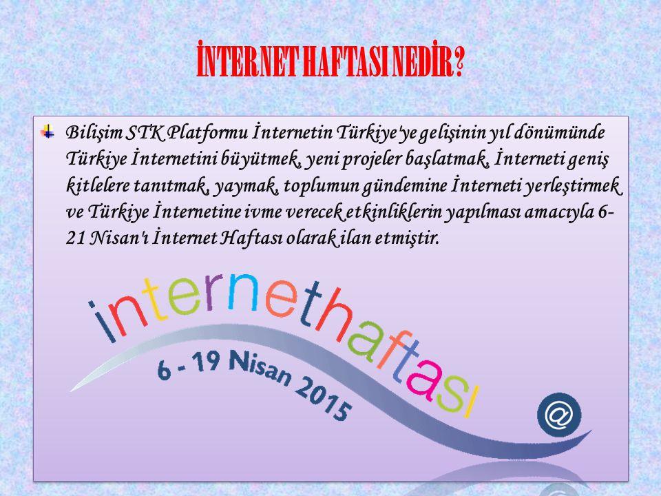 İNTERNET HAFTASI'NIN ÖNEMİ İnternet Haftası toplumda internet kültürünü yaymak, internet bilincini yaratmak, interneti tanıtmak, büyütmek, yeni projeler başlatmak, sorunları ve çözüm yollarını tartışmak, kısaca interneti Türkiye gündemine yerleştirmeyi amaçlamaktadır.