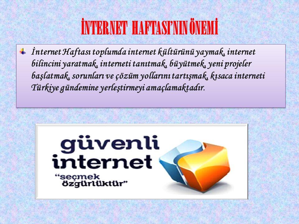 İNTERNET HAFTASI'NIN ÖNEMİ İnternet Haftası toplumda internet kültürünü yaymak, internet bilincini yaratmak, interneti tanıtmak, büyütmek, yeni projel