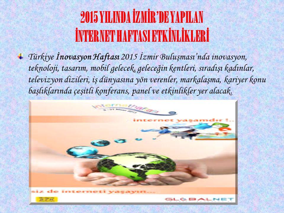 2015 YILINDA İZMİR'DE YAPILAN İNTERNET HAFTASI ETKİNLİKLERİ Türkiye İnovasyon Haftası 2015 İzmir Buluşması'nda inovasyon, teknoloji, tasarım, mobil ge