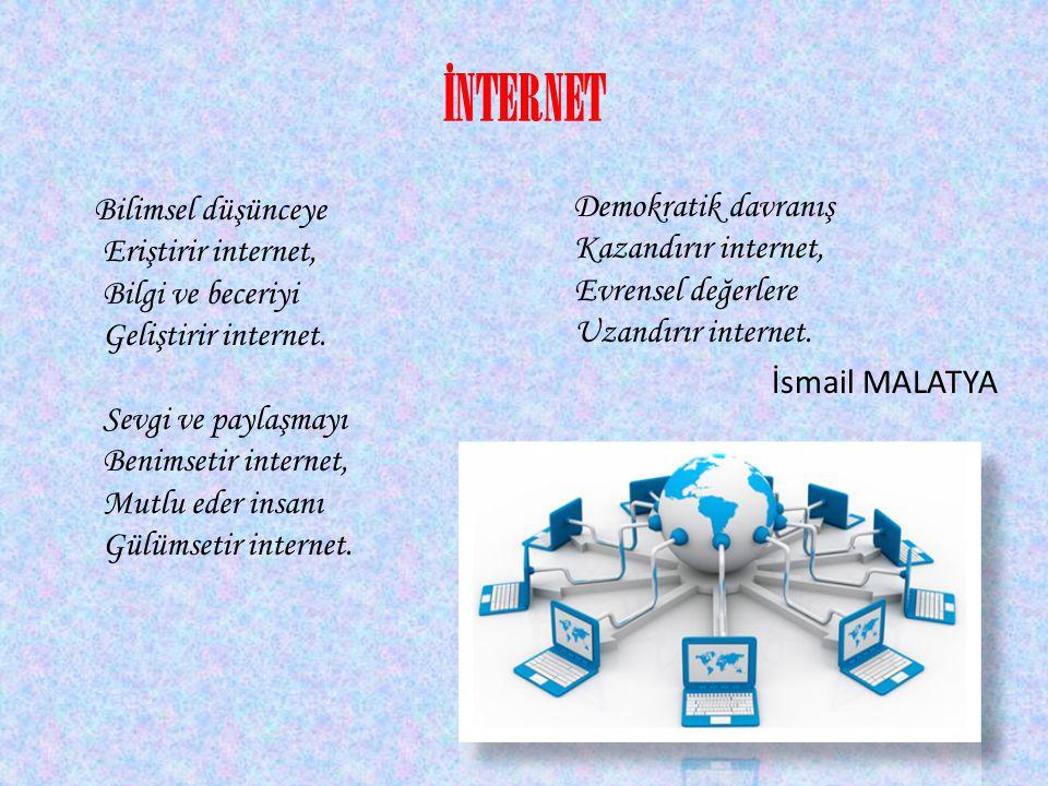 İNTERNET Bilimsel düşünceye Eriştirir internet, Bilgi ve beceriyi Geliştirir internet. Sevgi ve paylaşmayı Benimsetir internet, Mutlu eder insanı Gülü
